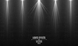 设置被隔绝的白光作用对黑暗的透明背景 白色光芒 灯射线 霓虹发光 从的光 库存例证