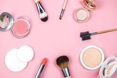 设置装饰化妆用品为组成 库存照片
