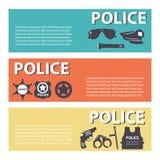 设置警察保护在平的样式的职员设备 库存图片