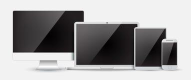 设置计算机显示器、膝上型计算机、片剂和手机 免版税库存照片