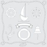 设置设计的被隔绝的航海标志 向量例证