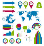 设置设计网站布局的细节infographic元素 免版税库存照片