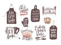 设置诱导口号手写与烹调或烘烤装饰的草写字体设计元素 ??  皇族释放例证