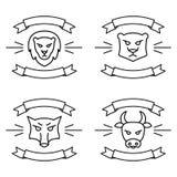 设置象或与丝带的商标,与野生和牲口导航在线性样式的例证 向量例证