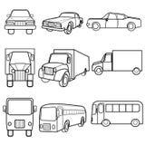 设置象标志汽车,卡车,公共汽车 库存例证
