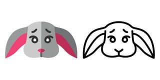 设置象-在线性和平的样式的商标一只逗人喜爱的兔子的头 r 向量例证