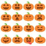 设置象emoji动画片南瓜橙色在万圣夜 库存例证