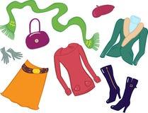 设置购物妇女 向量例证