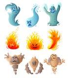设置逗人喜爱的水,火,地面妖怪,喜剧人物 皇族释放例证