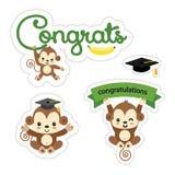 设置逗人喜爱的猴子贴纸 祝贺设计传染媒介 库存例证