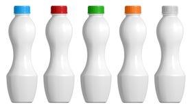 设置酸奶或乳制品的塑料瓶,与色的盖帽 库存例证
