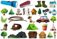 设置野营的元素 库存例证