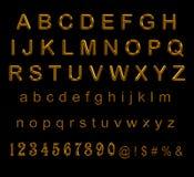 设置金子信件和数字在黑色 皇族释放例证