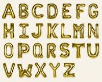 设置金子资本A-Z字母表气球 图库摄影