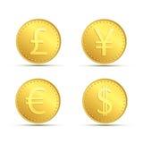 设置金币象  货币美元,欧元,英镑a 免版税库存照片