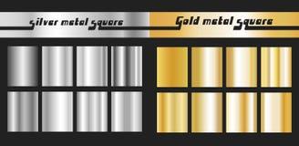 设置金银色正方形 免版税库存照片