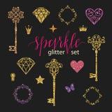 设置金黄闪烁金刚石、心脏、星、框架、蝴蝶和钥匙的汇集在黑背景 库存例证