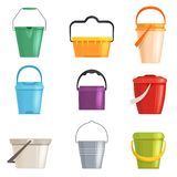 设置铁或塑料桶,垃圾箱 背景查出的白色 也corel凹道例证向量 向量例证