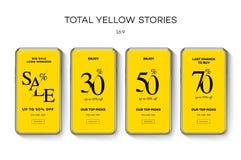 设置销售社会媒介流动应用程序的网横幅 黄色背景销售和折扣电视节目预告,传染媒介例证 库存图片