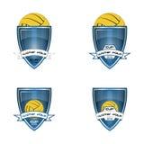 设置队和杯子的水球商标 免版税库存图片