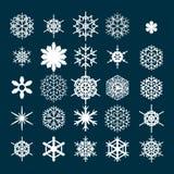 设置雪花向量 在黑暗的背景隔绝的冬天象 冷气候的标志 免版税库存图片