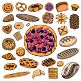 设置面包店和酥皮点心产品 面包和饼、小圆面包和蛋糕 酥皮点心 被刻记的手拉的葡萄酒样式 乱画为 库存例证