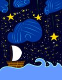 设置风帆在繁星之夜里 库存照片