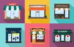 设置餐馆,商店,咖啡,书,精品店,外部想法的门面 也corel凹道例证向量 库存照片