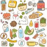 设置饮食kawaii乱画 向量例证