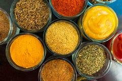 设置香料和草本 印度烹调胡椒,盐,辣椒粉,咖喱,蓬蒿,芥末,肉豆蔻,姜黄 v 免版税图库摄影