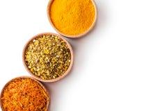 设置香料番红花,姜黄,绿色盐 免版税库存图片