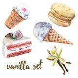 设置香草甜点 蛋糕、糖果、冰淇凌和蛋白杏仁饼干 皇族释放例证