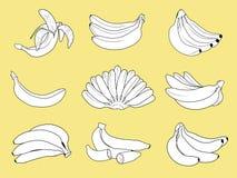 设置香蕉的例证 免版税库存图片