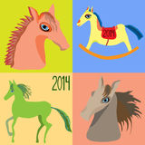 设置马,马的年,孩子的玩具马摇椅 向量 免版税库存图片