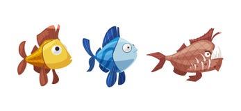 设置鱼字符 外籍动画片猫逃脱例证屋顶向量 皇族释放例证