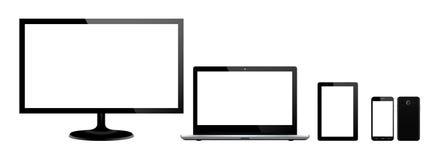 设置黑小配件和计算机设备在前方 向量例证