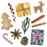 设置11个各种各样的新年和圣诞节装饰元素-在白色隔绝的水彩手拉的例证 向量例证