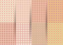 设置6个抽象无缝的方格的几何样式 织品的,印刷品,小孩衣服传染媒介桃红色几何ackground 库存例证