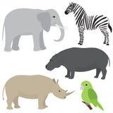 设置1动画片非洲人动物 免版税库存照片