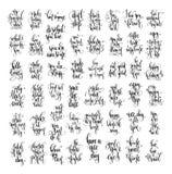 设置50只手字法题字文本、刺激和inspir 向量例证