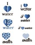 设置水商标 我爱水 免版税图库摄影