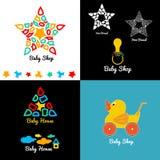 设置婴孩商店商标和象征 免版税库存图片