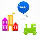 设置婴孩玩具球火车堡垒商标象标志 库存图片