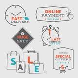 设置1平的设计销售象和徽章网和流动购物的-导航eps8 免版税库存照片