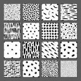 设置16无缝的样式 被画一个宽钢笔画的抽象形式 在黑白的背景 库存例证