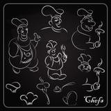 设置黑板的动画片厨师 菜单的动画片 库存例证