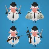 设置绵羊匪徒用不同的姿势 库存图片
