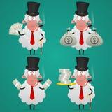 设置绵羊银行家用不同的姿势 库存照片