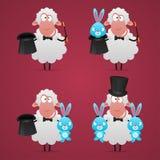 设置绵羊魔术师用不同的姿势 免版税库存照片
