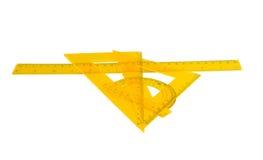 设置统治者,分度器,被隔绝的三角 库存图片